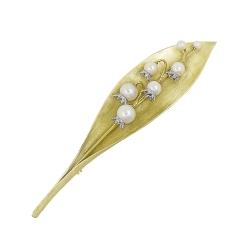 Брошь из жёлтого золота 585 пробы с бриллиантами и жемчугом