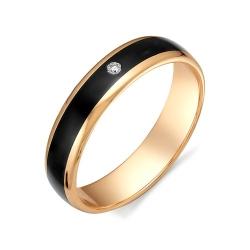 Обручальное кольцо с черной керамикой и бриллиантом