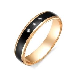 Обручальное кольцо с черной керамикой и бриллиантами