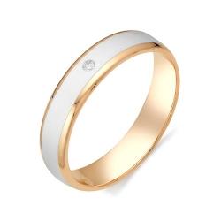 Обручальное кольцо с белой керамикой и бриллиантом