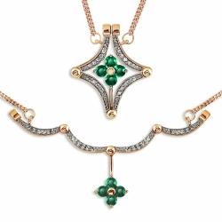 Золотое колье Цветы с изумрудом, бриллиантами, магнитами