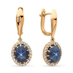 Золотые серьги со звездчатыми сапфирами и бриллиантами