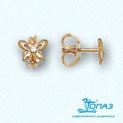 Детские золотые пусеты Бабочки с фианитами