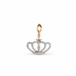 Золотая подвеска Корона с фианитами