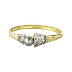Браслет из жёлтого золота 585 пробы с бриллиантами и жемчугом