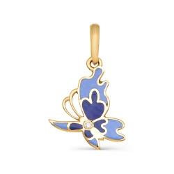 Золотая подвеска Бабочка с одним бриллиантом
