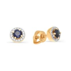 Золотые гвоздики с сапфирами и бриллиантами