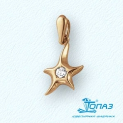 Золотая подвеска Звезда с фианитом