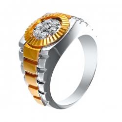 Кольцо из белого золота 585 пробы и золота 585 пробы с бриллиантами