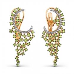 Золотые длинные серьги с хризолитом и фианитами