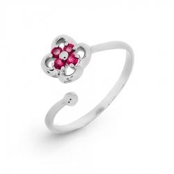 Детское кольцо из белого золота с рубином