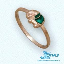 Детское золотое кольцо Слоник с эмалью