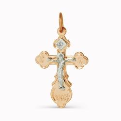 Крестик из золота с одним бриллиантом
