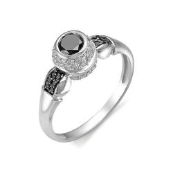 Женское кольцо из белого золота с черным и бесцветным бриллиантом