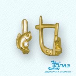 Детские серьги Рыбки из желтого золота с фианитами