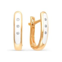 Золотые серьги с бриллиантами и эмалью
