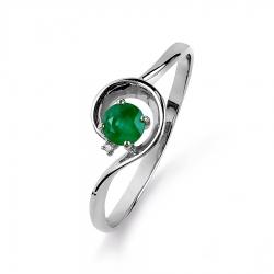 Кольцо из белого золота с изумрудом, бриллиантом