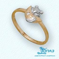 Детское золотое кольцо Мышка с фианитом