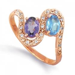 Золотое кольцо с аметистом, топазом, фианитами