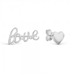 Серьги гвоздики Love из белого золота