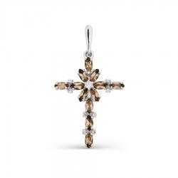 Крестик из белого золота с раухтопазом и фианитами