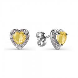 Серьги-гвоздики из белого золота с цитрином и фианитами