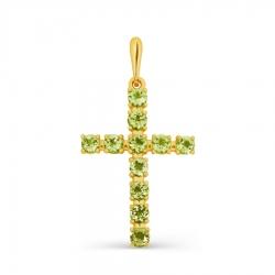 Крестик из желтого золота с хризолитом