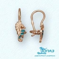 Детские золотые серьги Морские коньки с эмалью