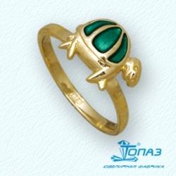 Детское кольцо Черепаха из желтого золота с эмалью