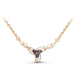 Золотое колье c сапфиром и бриллиантом