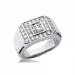 Мужское кольцо из белого золота с муассанитами