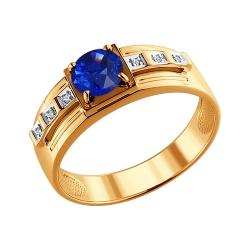 Мужское кольцо из золота с ГТ сапфирами SOKOLOV