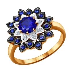 Золотое кольцо «Цветок» с гидротермальными сапфирами SOKOLOV