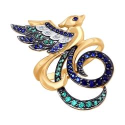Золотое кольцо Птицы с цветными камнями SOKOLOV