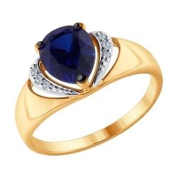 Кольцо из комбинированного золота с бриллиантами и синими корундами (синт.) SOKOLOV
