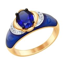 Золотое кольцо с эмалью с бриллиантами и синими корундами (синт.) SOKOLOV
