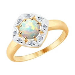 Кольцо из золота с бриллиантами и опалом