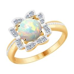 6014061 кольцо из золота с бриллиантами и опалом