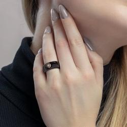 Кольцо из черной керамики с бриллиантом SOKOLOV