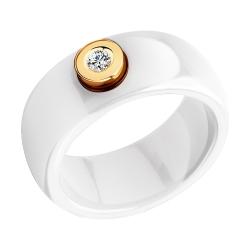 Кольцо из белой керамики с бриллиантом SOKOLOV