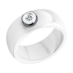 Керамическое кольцо из белого золота с бриллиантом SOKOLOV