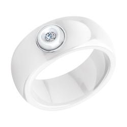 Кольцо из белого золота (Бриллиант, Керамика) SOKOLOV