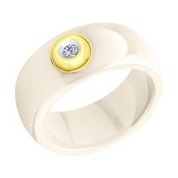 Кольцо из желтого золота с бриллиантами и жёлтыми керамическими вставками
