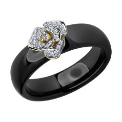 Кольцо из желтого золота с бриллиантами и чёрными керамическими вставками