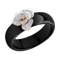 Золотое кольцо Цветы (Керамика, Бриллиант) SOKOLOV