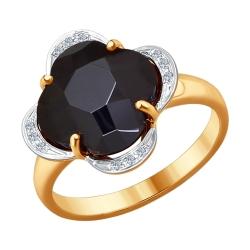 Золотое кольцо Четырехлистник (Керамика, Бриллиант) SOKOLOV