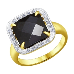 Кольцо из желтого золота с бриллиантами и чёрным керамической вставкой