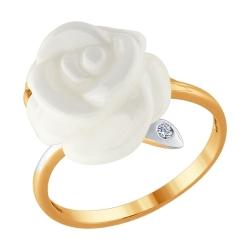 Золотое кольцо в виде розы (Керамика, Бриллиант) SOKOLOV