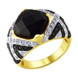 Кольцо из желтого золота с бесцветными чёрными бриллиантами и чёрным керамической вставкой