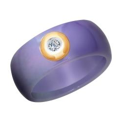 Кольцо из золота с бриллиантом и сиреневым керамической вставкой